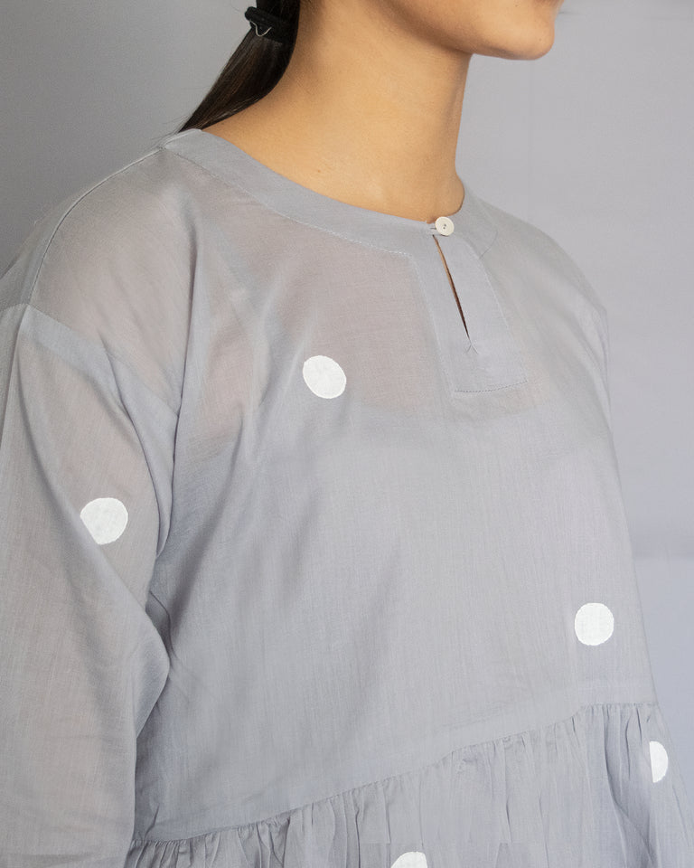 Load image into Gallery viewer, Grey Polka Drop Shoulder Dress with Free Slip