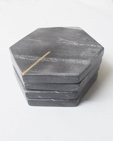 Black Hexagonal Marble Coasters with Brass Inlay - Set of 4