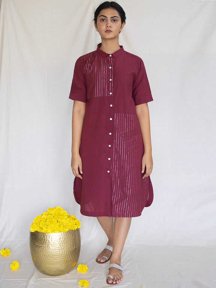 Load image into Gallery viewer, Burgundy Cotton Zari Shirt Dress