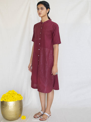 Burgundy Cotton Zari Shirt Dress