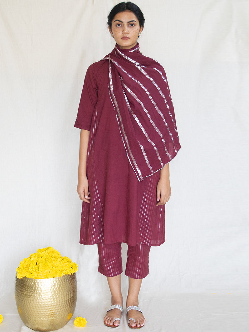 Burgundy Side Gather Tunic-Dress
