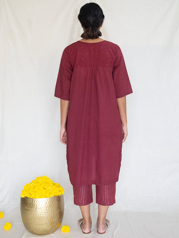 Burgundy Tunic with Mukaish Handwork