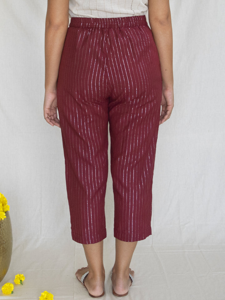 Load image into Gallery viewer, Burgundy Cotton Zari Pants