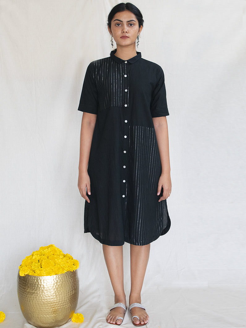 Black Cotton Zari Shirt Dress