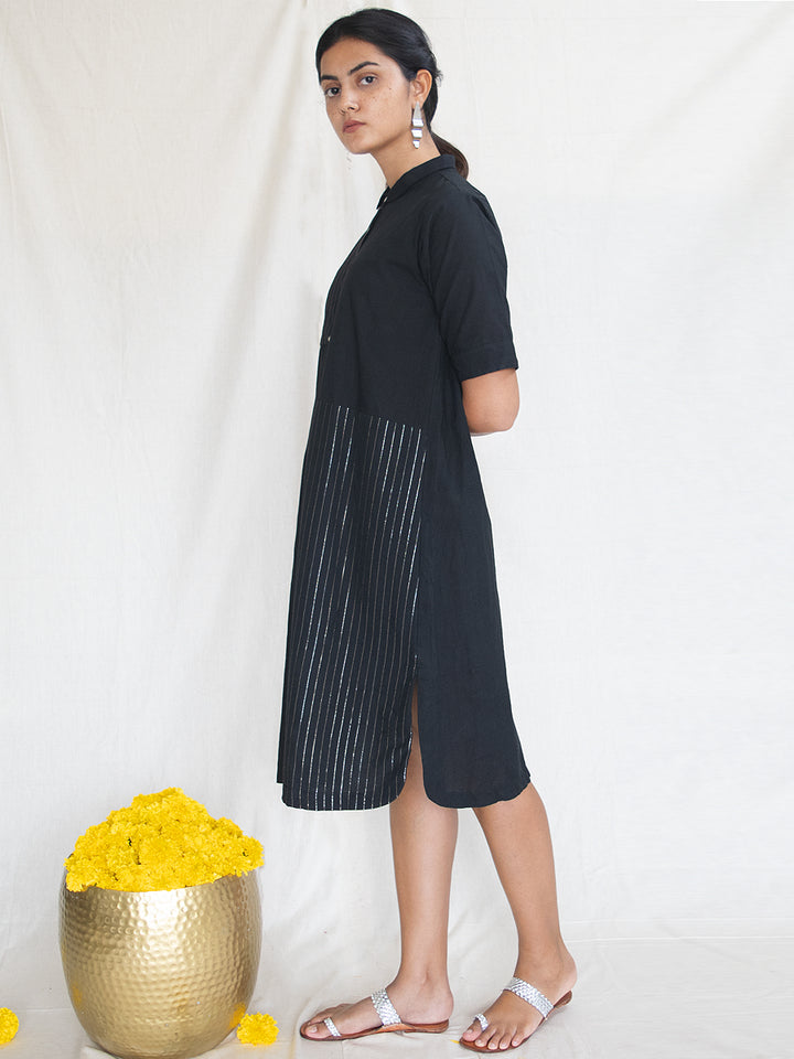 Load image into Gallery viewer, Black Cotton Zari Shirt Dress