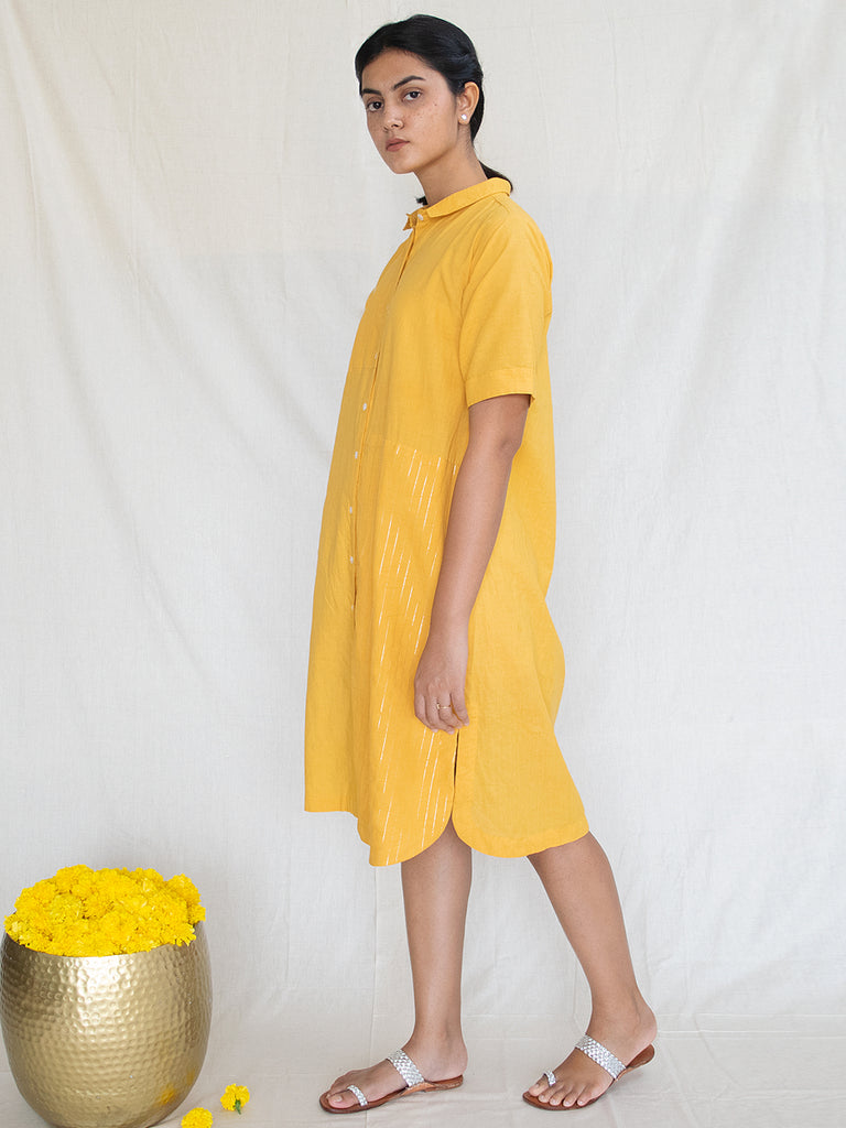 Marigold Cotton Zari Shirt Dress