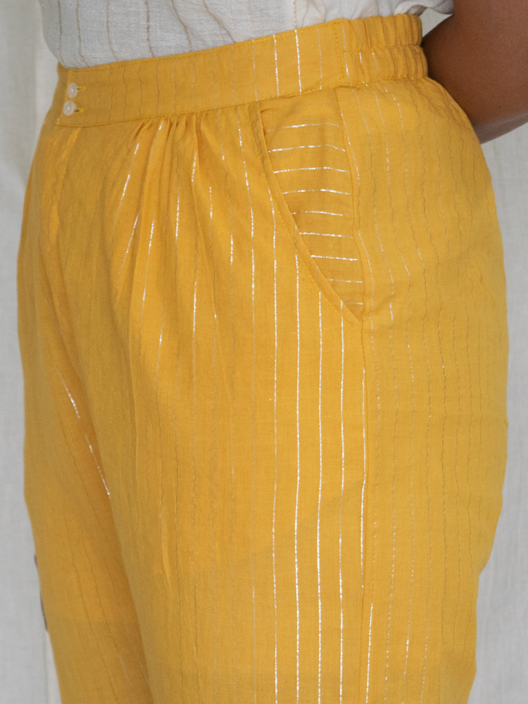 Marigold Cotton Zari Pants