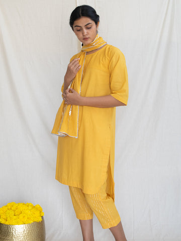 Marigold Tunic with Mukaish Handwork