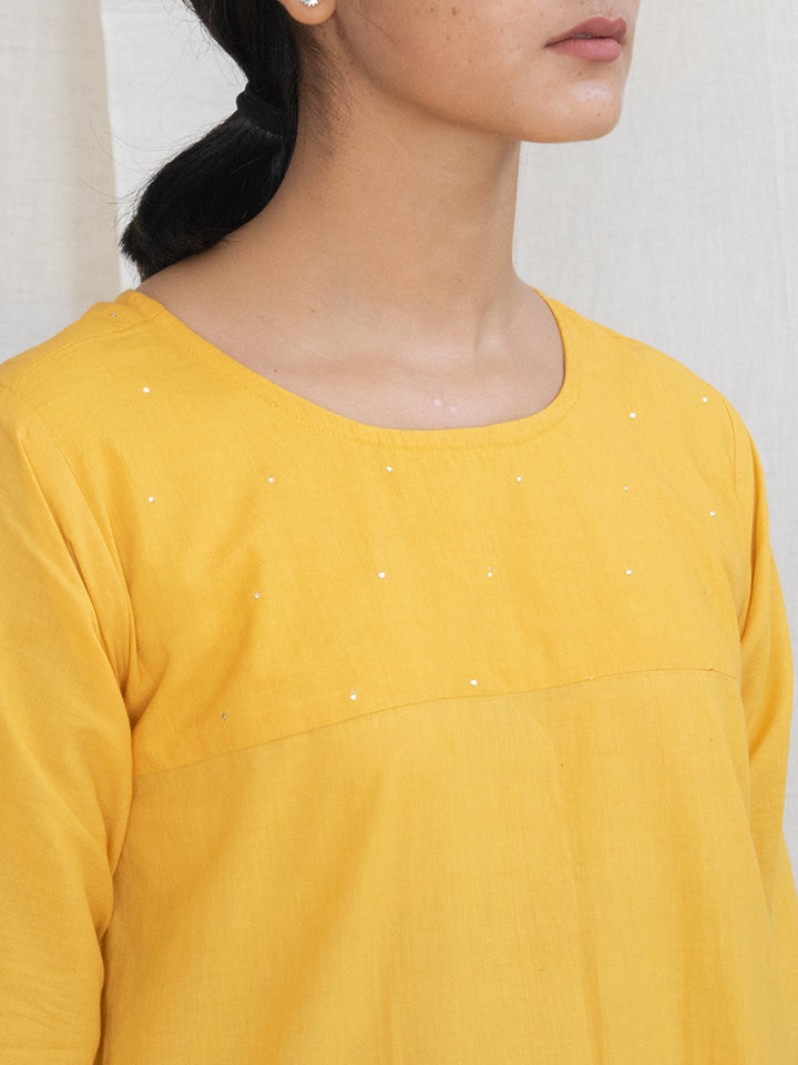 Load image into Gallery viewer, Marigold Tunic with Mukaish Handwork