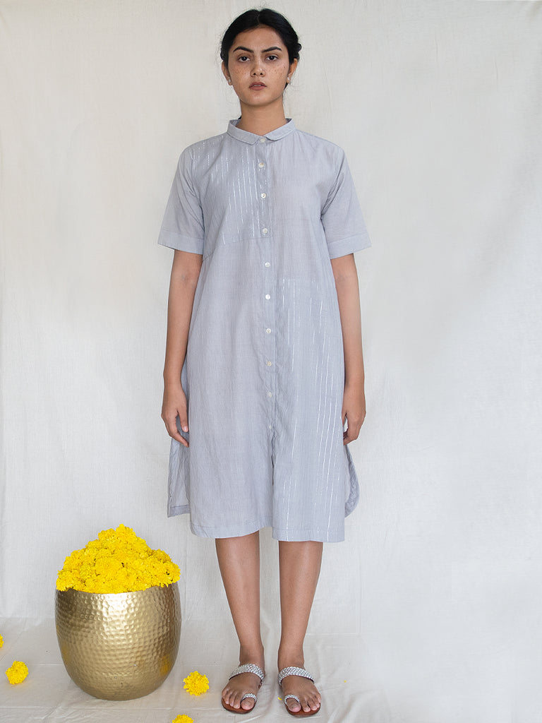 Grey Cotton Zari Shirt Dress