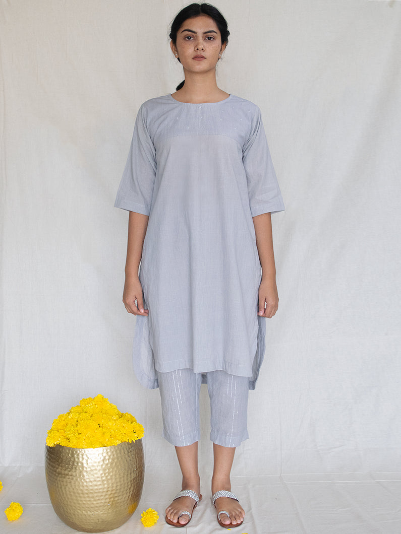 Grey Tunic with Mukaish Handwork