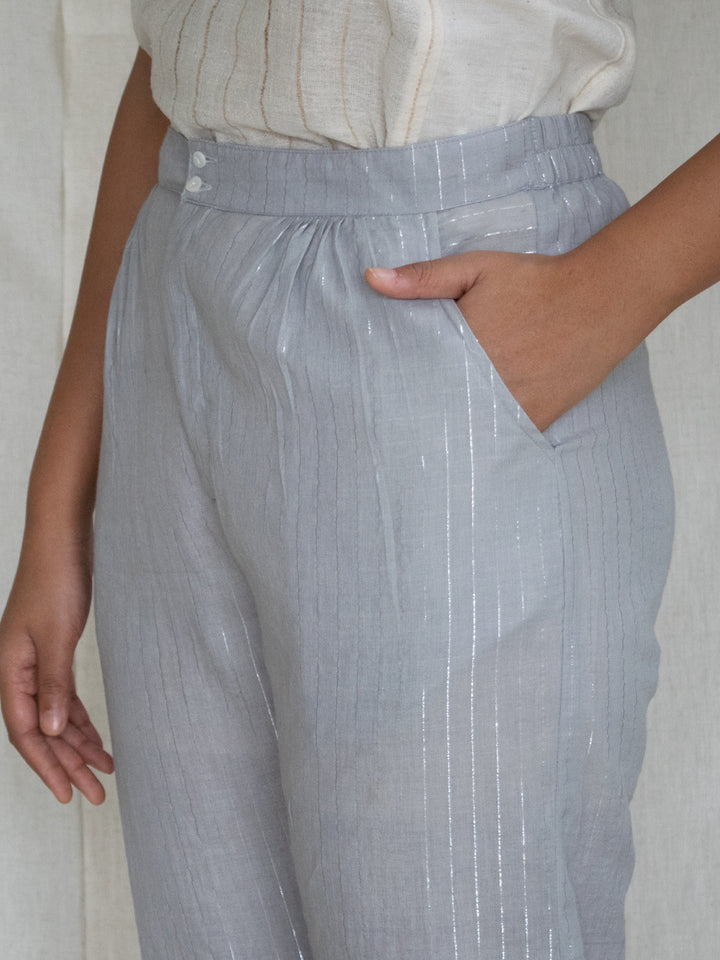 Load image into Gallery viewer, Grey Zari Stripe Pants
