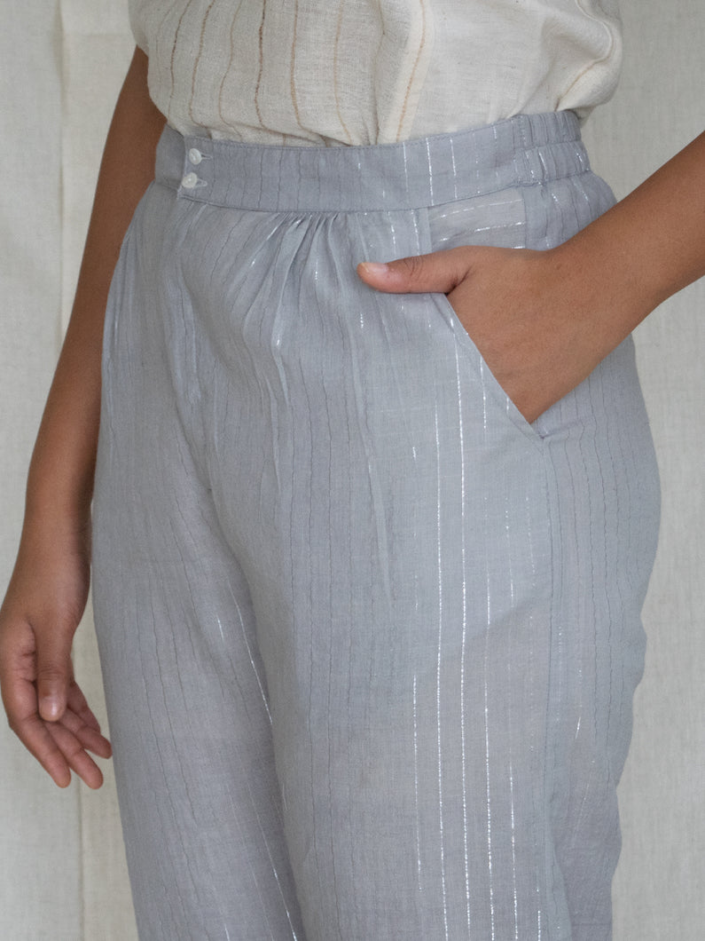 Grey Zari Stripe Pants
