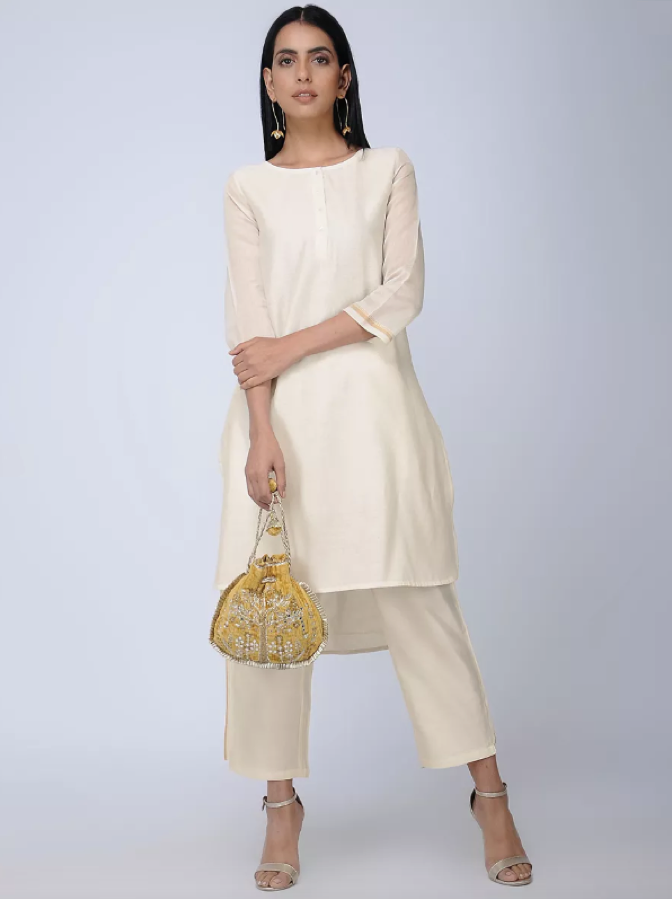 White Cotton Silk Chanderi Tunic