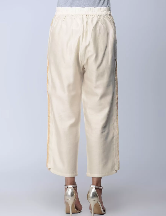 White Cotton Silk Chanderi Pant
