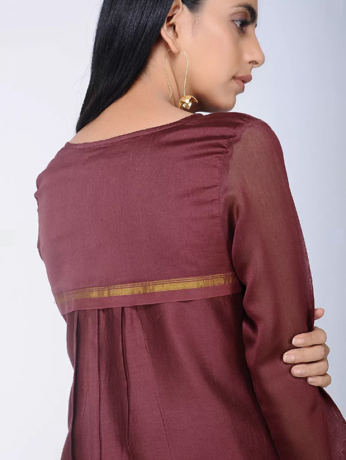 Load image into Gallery viewer, Burgundy Chanderi Silk Tunic