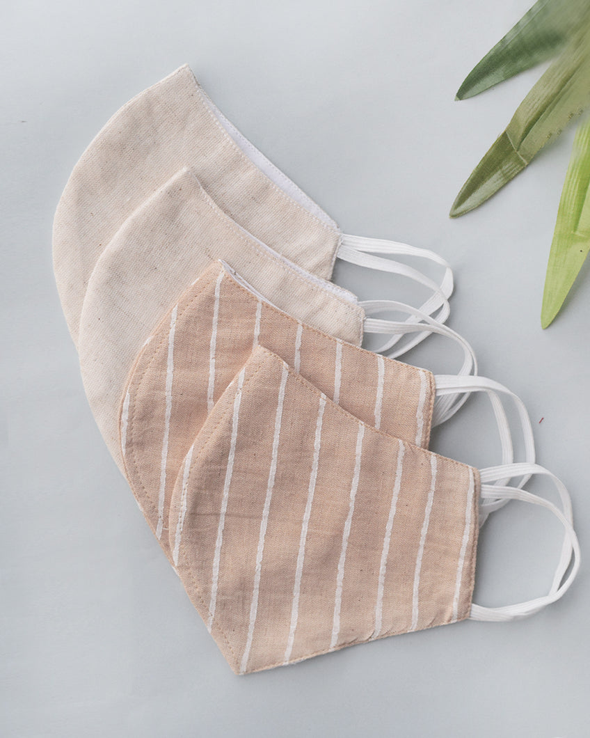 Beige Stripe & Ivory Cotton Covers - Set of 4