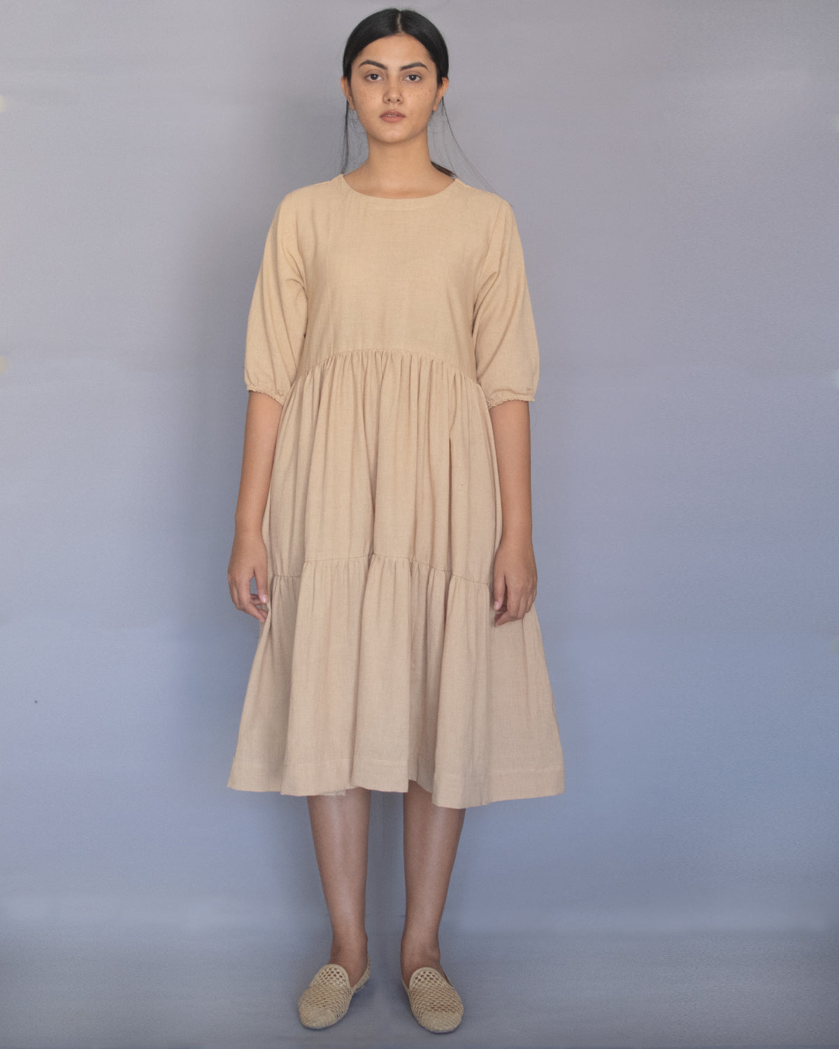 Beige Three Tier Dress