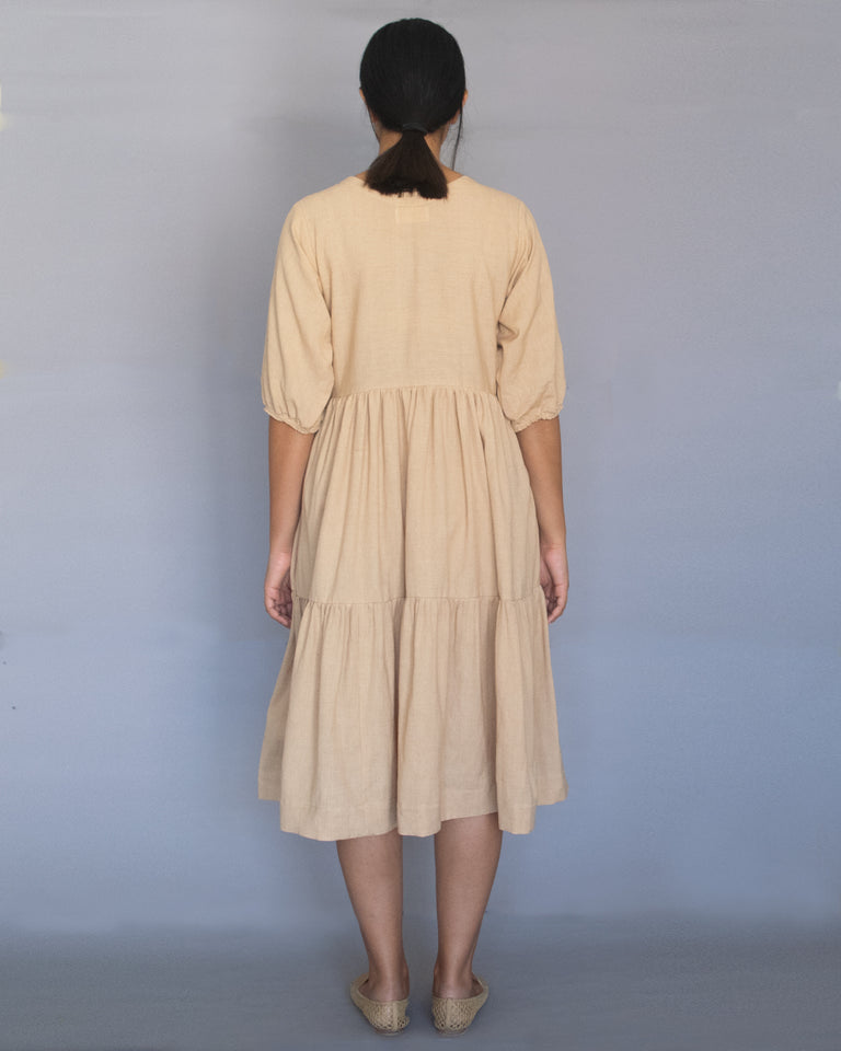 Load image into Gallery viewer, Beige Three Tier Dress