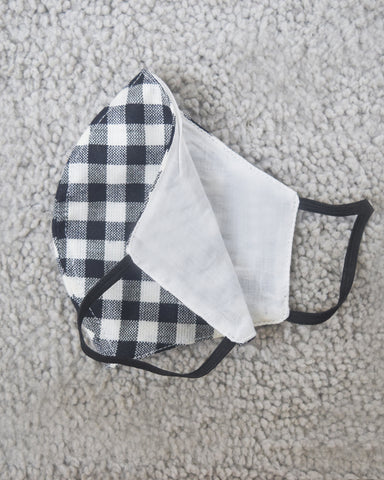 Gingham and Black Cotton Covers - Set of 4