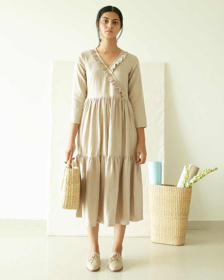 Load image into Gallery viewer, Beige Three Tier V Neck Dress