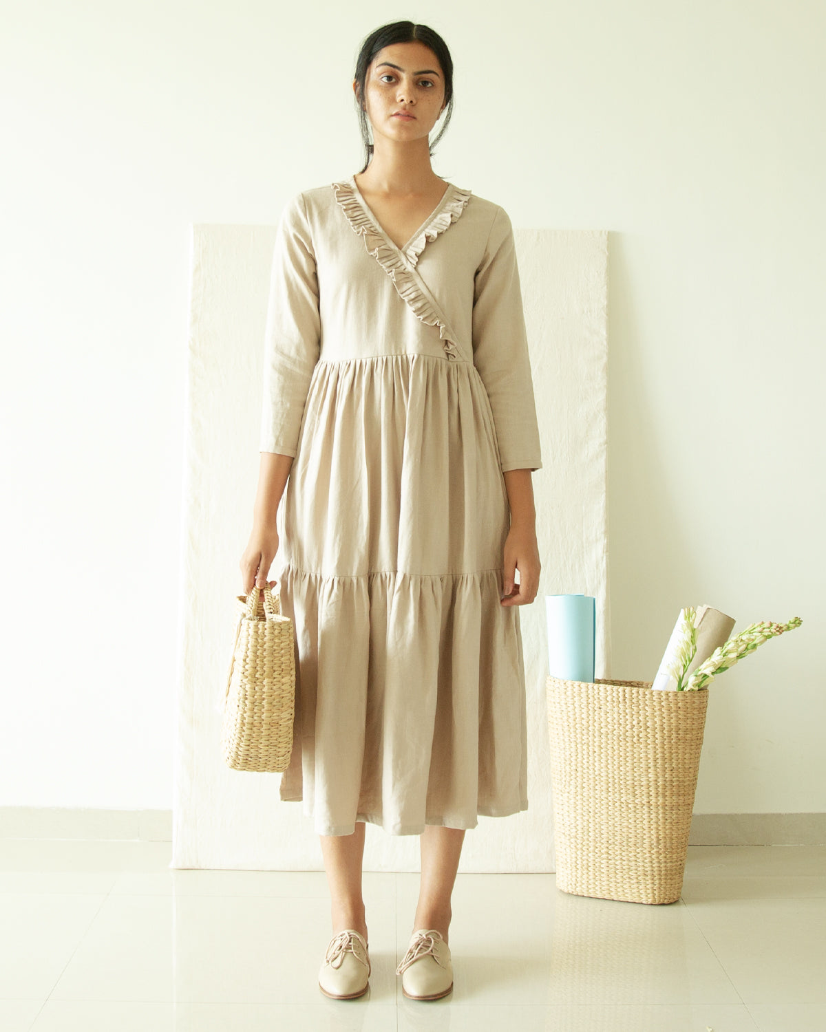 Beige Three Tier V Neck Dress