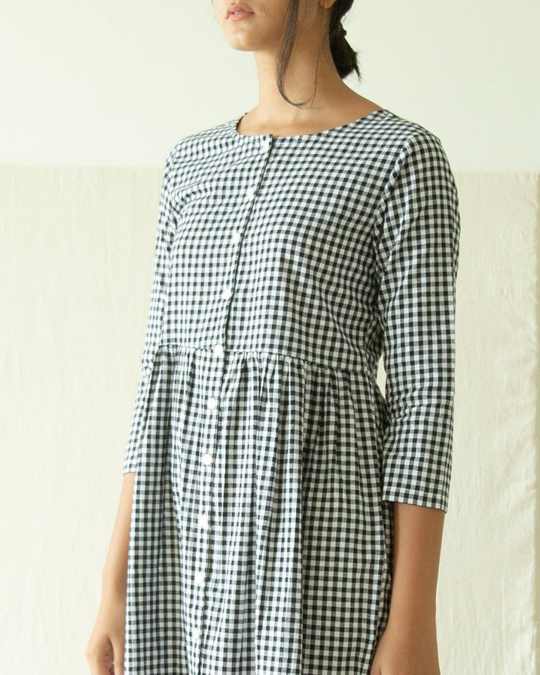 Load image into Gallery viewer, Black & White Checks Dress