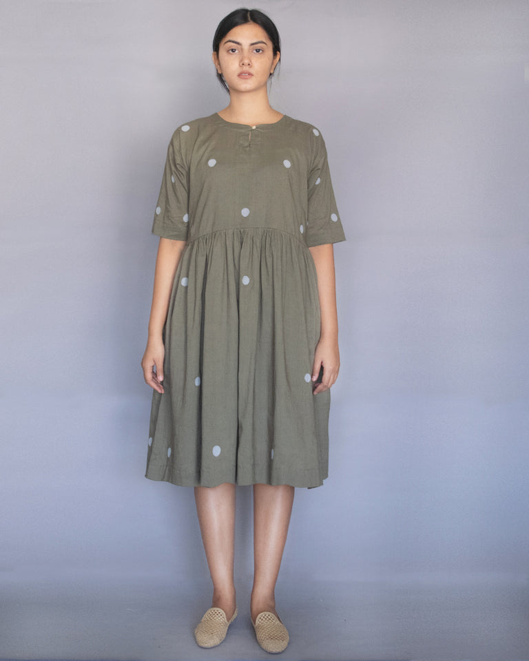 Load image into Gallery viewer, Sage Green Polka Drop Shoulder Dress