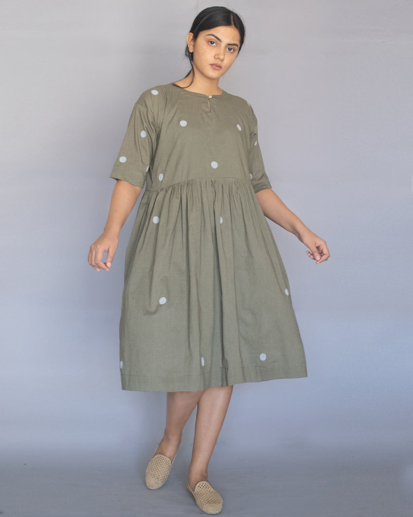 Sage Green Polka Drop Shoulder Dress