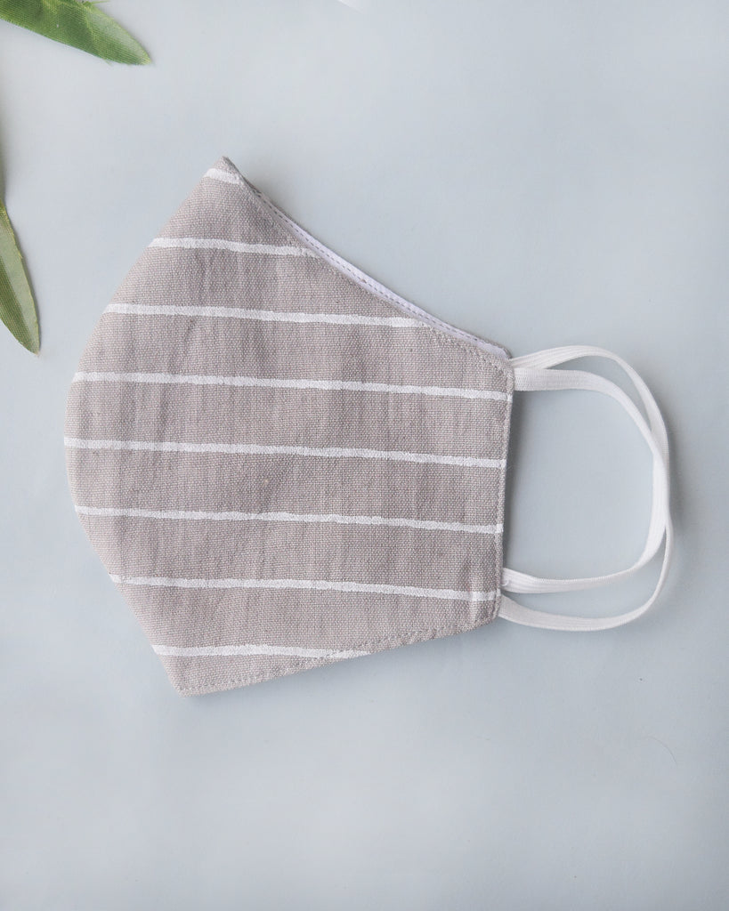 Grey & Beige Stripe Cotton Covers - Set of 4