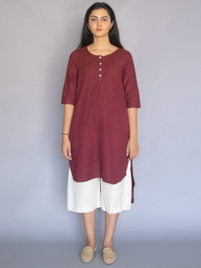 Burgundy Cotton Linen Tunic