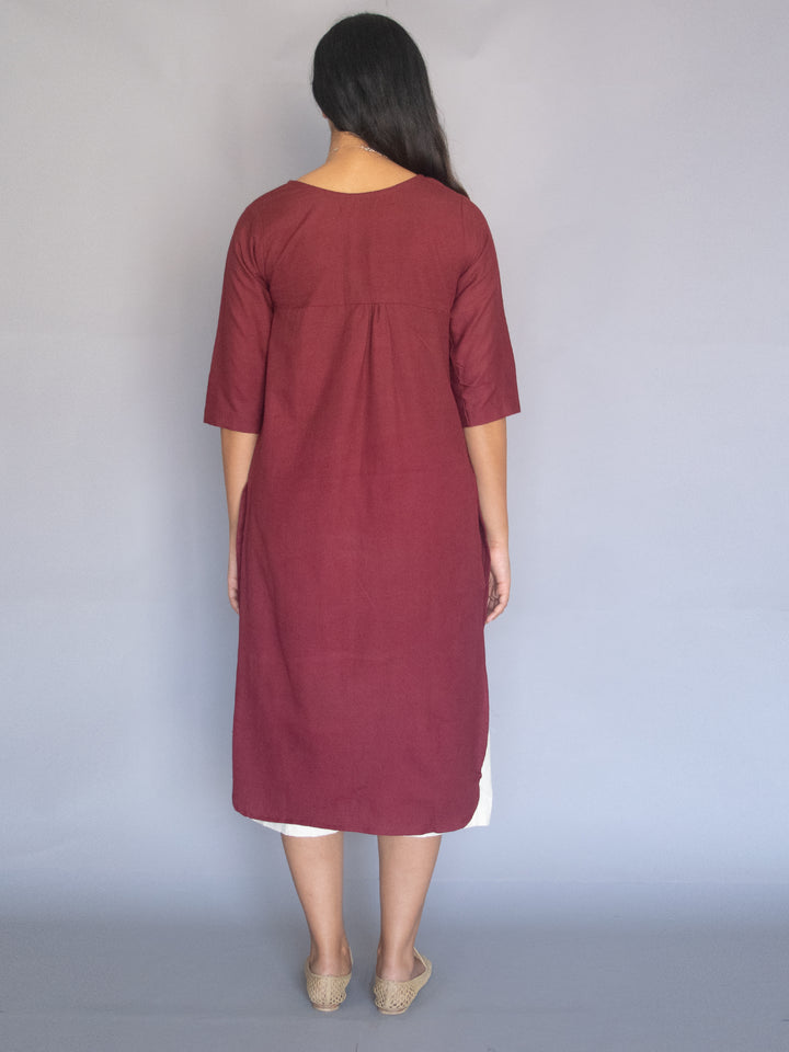 Load image into Gallery viewer, Burgundy Cotton Linen Tunic