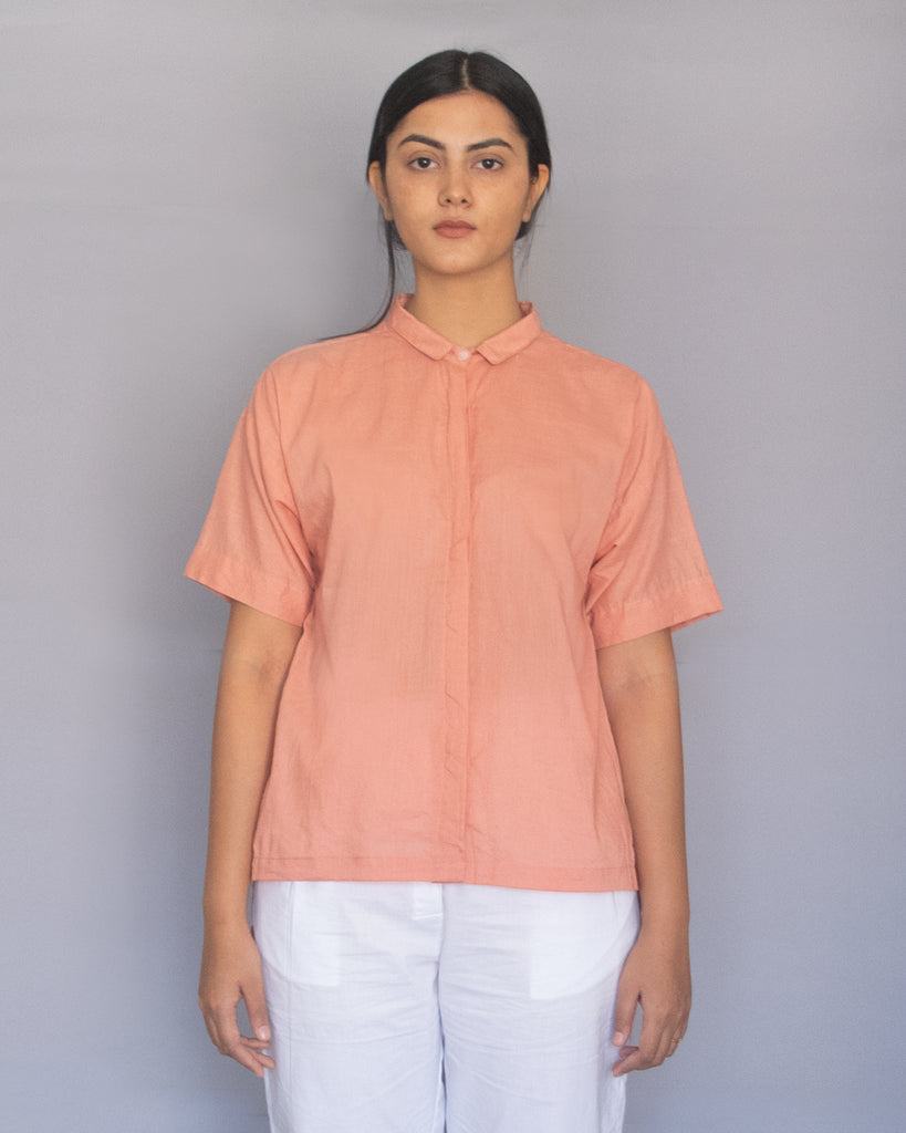 Light Coral Drop Shoulder Top