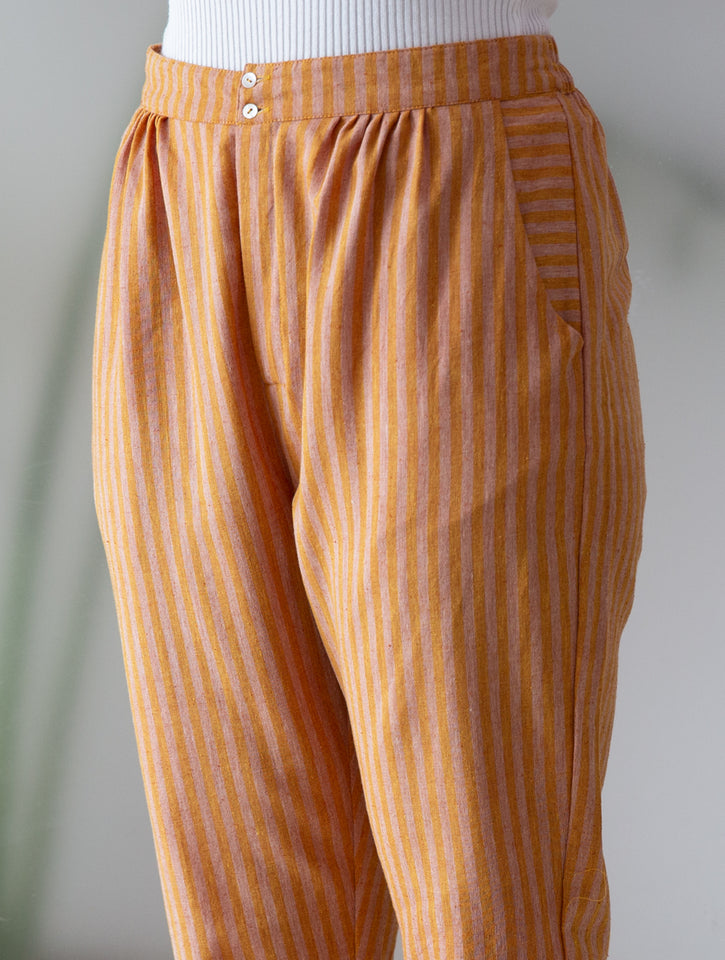 Load image into Gallery viewer, Rust Stripe Ankle Length Pants