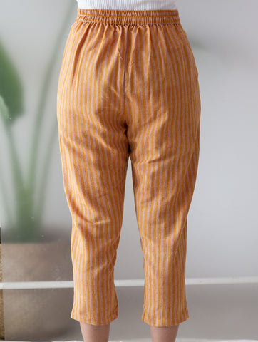 Rust Stripe Ankle Length Pants