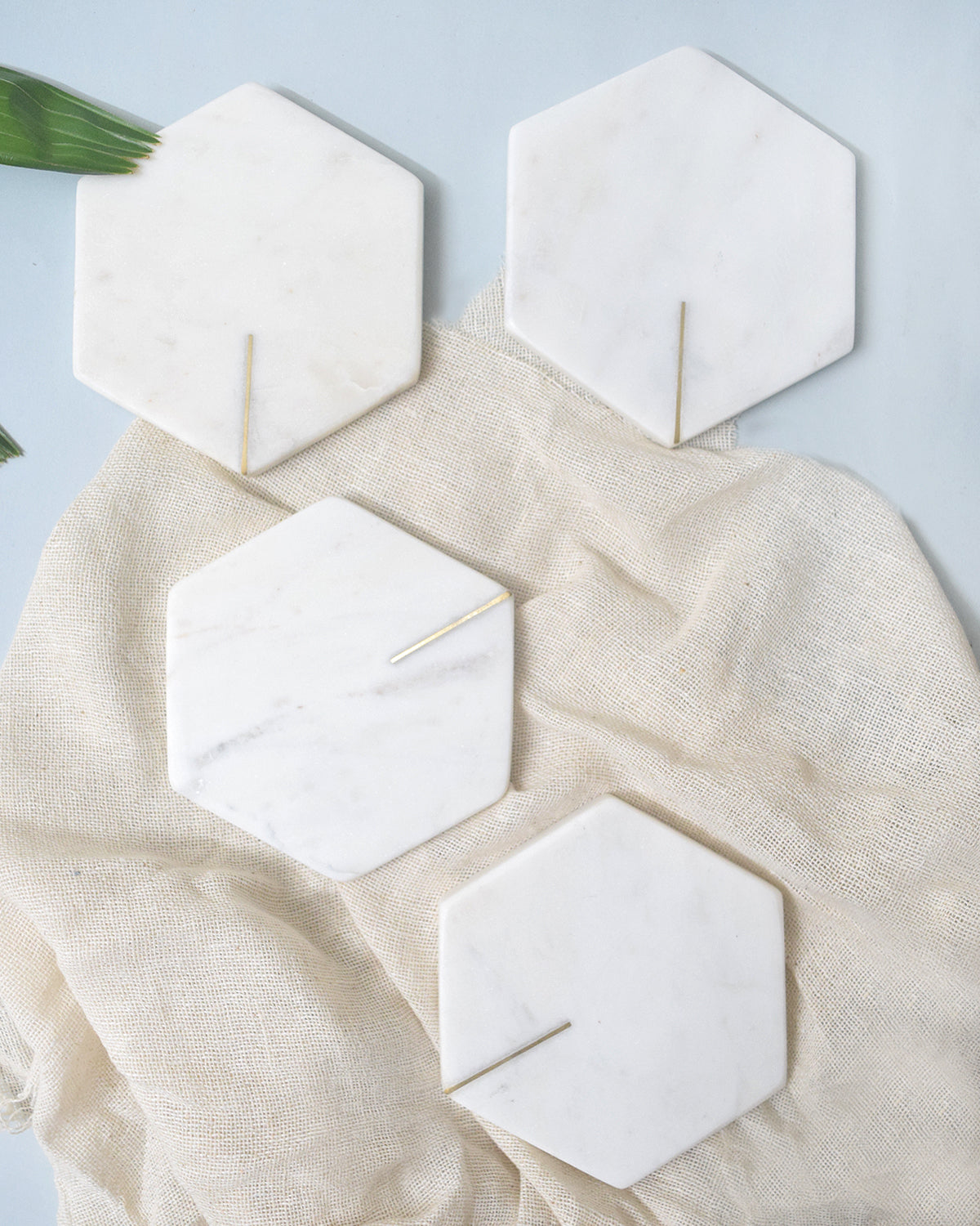 White Hexagonal Marble with Brass Inlay - Set of 4