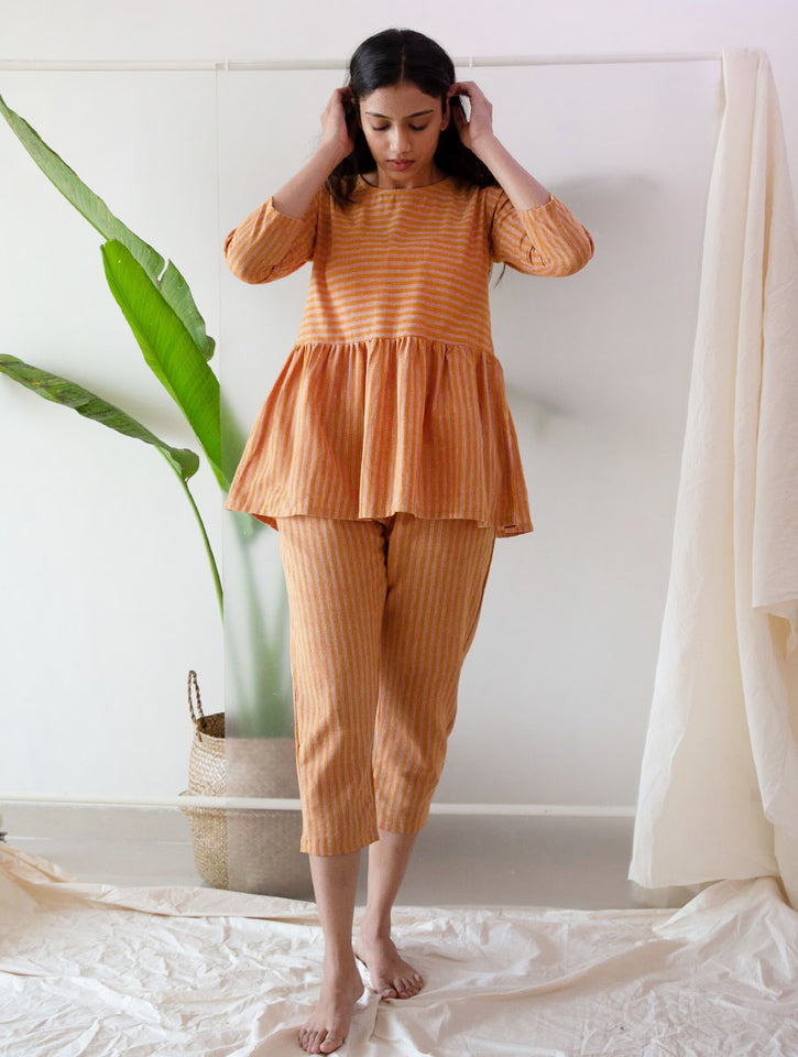 Load image into Gallery viewer, Rust Stripe Ruffle Top