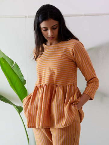 Rust Stripe Ruffle Top
