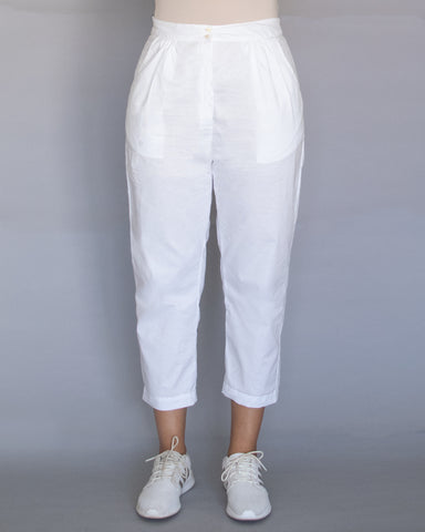 White Cotton Pegged Pants