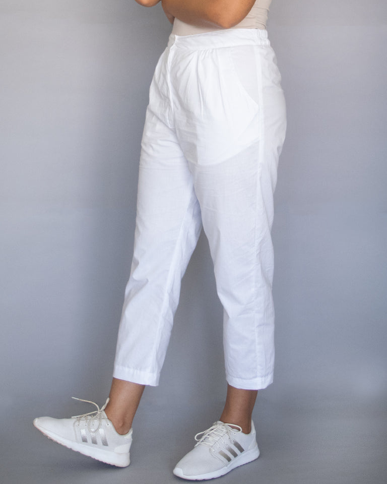 Load image into Gallery viewer, White Cotton Pegged Pants