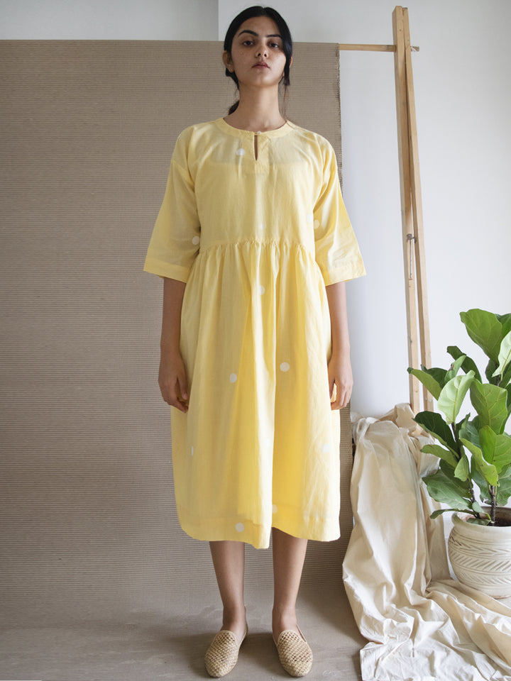 Load image into Gallery viewer, Yellow Polka Drop Shoulder Dress with Free Slip