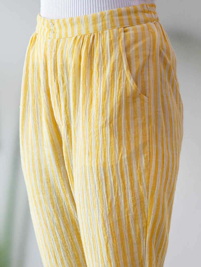 Yellow Stripe Pegged Pants