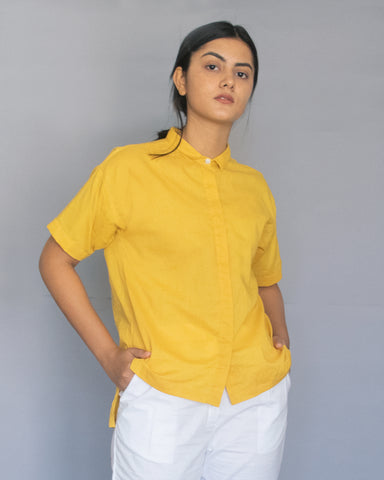 Yellow Drop Shoulder Top