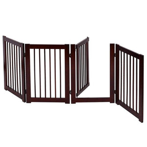 "30"" Wooden dog gate for doorway in 4 panels for little dog breeds 🐕‍🦺🐶🥰🚪 - PupiPlace"