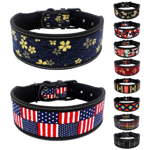 Strong Reflective Fashion Dog Collars for small, medium and big dogs 🐕‍🦺🌺🌼🌸🇺🇸 - PupiPlace