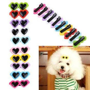 10pcs/Set Lovely Heart Sunglasses dog hair decor 🐶❤️🐾 - PupiPlace