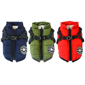 Warm dog jacket harness for rainy days 🐶🐾🌨🦺🐕‍🦺 - PupiPlace