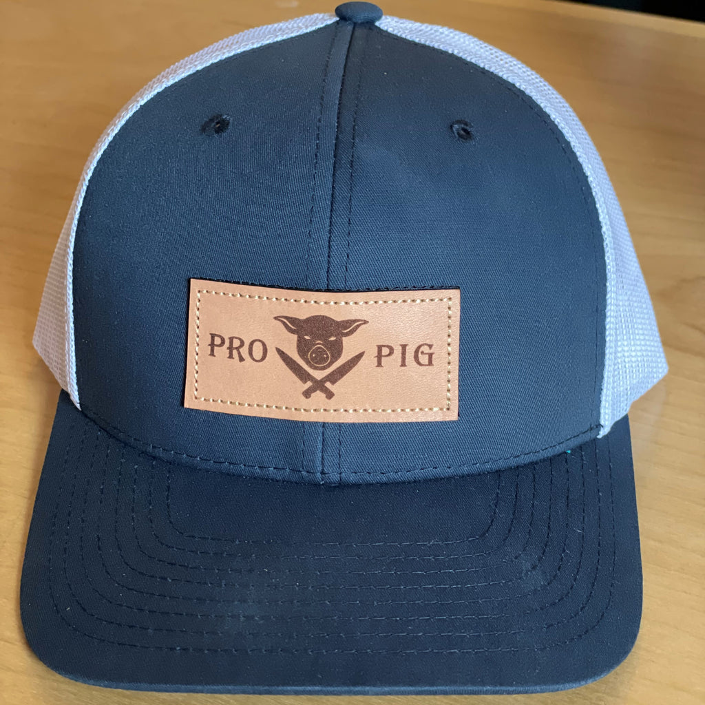 Pig & Knives Blue & White Leather Patch Mesh Snapback
