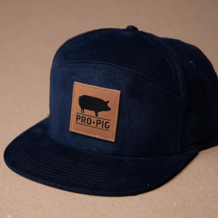Pro.Pig Navy Corduroy 5 Panel Square Leather Patch
