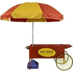 Paragon Hot Dog Cart with Red & Yellow Umbrella 3090080